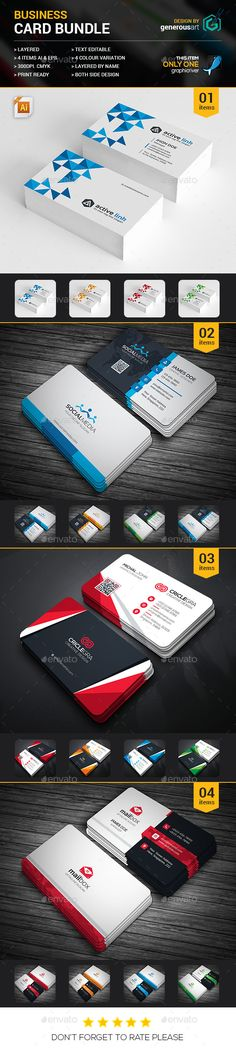 Business Card Bundle 4 in 1 - Corporate Business Card Template Vector AI, Vector EPS. Download here: http://graphicriver.net/item/business-card-bundle-4-in-1/16563701?s_rank=844&ref=yinkira