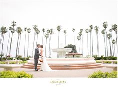Santa Barbara Fess Parker Doubletree First Look by the Fountain...Wedding Photography by Kelsey Crews Photo