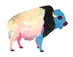 Who loves Buffalo? I sure do...    This dreamy print depicts a buffalo painted in a colorful, sunny palette...perfect for any room! This is a