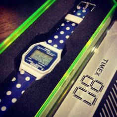 Retro Navy Polka Dot Timex Watch