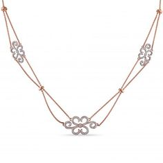 Diamond Accented Flower Design Necklace in 14k Rose Gold (0.10ct)
