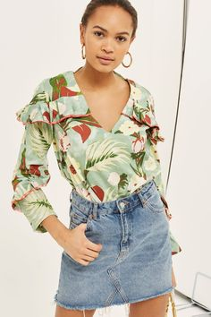 Washed Floral Print Frill Detail Blouse - Shop All Sale - Sale - Topshop USA