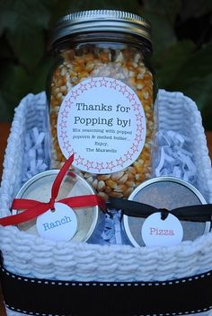 'Thanks for Popping By' Gift with seasonings....cute! by melissagarsia