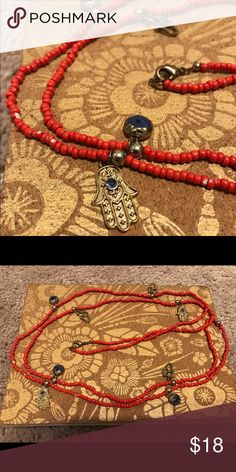 Long Hamsa Hand Evil Eye Red Beaded Necklace Long red hamsa hand evil eye necklace. Jewelry Necklaces