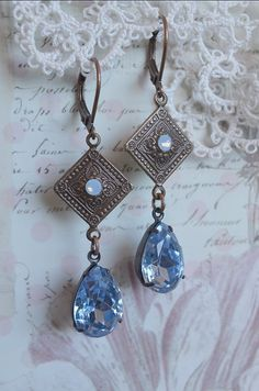 Brilliant blue vintage glass drops with Swarovski accents