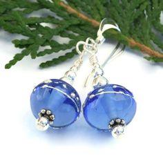 Sky #Blue #Lampwork Glass and Sterling Silver Dangle #Earrings #Handmade by @ShadowDog #ShadowDogDesigns #Jewelry on #ArtFire - $20.00