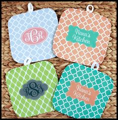 Gifts for Hostess, Oven Mitt Pot Holder Monogrammed Gift Set Personalized Oven Mitts Gifts for Mom Housewarming Gift Monogrammed Custom by ChicMonogram on Etsy