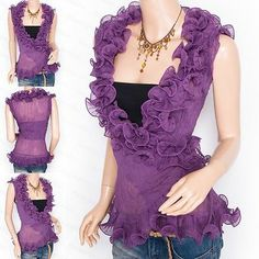 Trendy Purple Chiffon Tiered Ruffles Crinkles Wrap Sleeveless Shirt Top