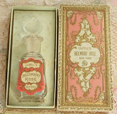 "RESERVED FOR ADRIENNE Antique Edwardian Lazell's ""Belwood Rose"" Perfume Bottle and Box ca 1900"