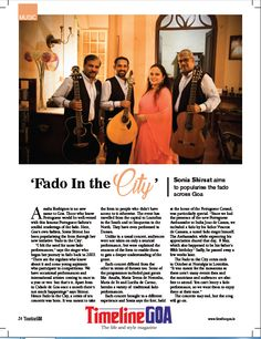 Sonia Shirsat aims to popularise the Fado across Goa.  Read the full article on Timeline Goa Magazine Vol 2 Issue 7… Now on stands….To Subscribe Call: 8888848098 or Visit www.timelinegoa.in. #GoaFado #GoanMusicians #TimelineGoa #Goa #GoaTimeline #Magazine #LifestyleMagazine #GoaMagazine #Volume2 #Issue7 #OnStandsNow #AvailabeOnFlipkart #AvailableOnAmazon #AvailabeOnEbay #AvailableOnMagzter #AvailabeOnInfibeam #AvailableOnRockstand.in #MagazineAdvertising #GoanMagazine #GoaTimeline #Timeline…