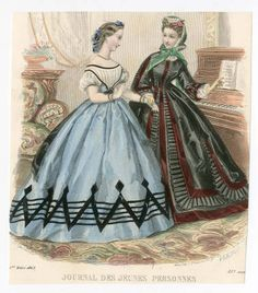 Women 1863, Plate 105. 1863. Metropolitan Museum of Art (New York, N.Y.). Costume Institute. Fashion plates, 1790-1929, Costume Institute Fashion Plates. #fashion #piano