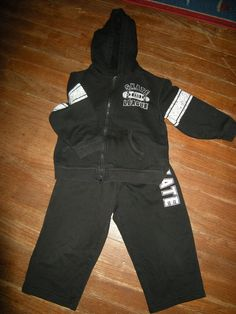 Boy's Size 3T Black Skate League Sweat Pants & Zip-Up Hoodie Set by Okie-Dokie #OkieDokie #Everyday