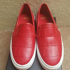 Nwt coach slip on shoes Red coach slip on shoes.very comfortable comes with everything box and care booklet Coach Shoes Sneakers