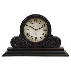 Wood Mantle Clock - Black