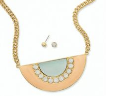 Gold Tone fashion bib plate necklace with crystal accent 29.00 USD