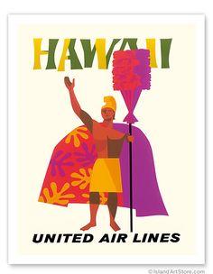 Hawaiian Art Prints & Posters - Hawaii United Airlines King Kamehameha - Giclée Art Prints & Posters 20x26   59.98, I'm waiting for a sale!