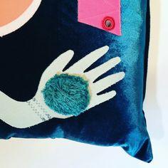 Details of Blue Velvet Fortune Teller Cushion - Available on my etsy shop.
