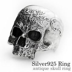 Antique scull ring silver ring men lapping free of charge