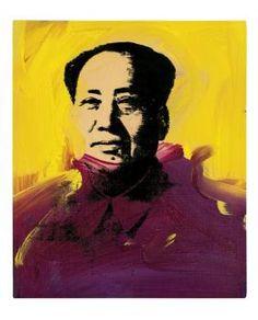 """Andy Warhol """"Mao"""" acrylique et encre de sérigraphie sur toile,30.5 x 25.5 cm, 1973"""