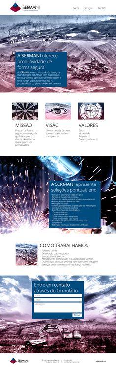 Site Sermani - Manutenções Industriais - Com conteúdo prático e objetivo, optamos por desenvolver este site na tendência single page, trabalhando com full banners, parallax scrolling e as cores do cliente nas imagens.