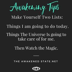 This is a fun trick i learned from Abraham Whenever you are overstressed or overwhelmed stop and create two lists. What you REALLY want to do today and what things the universe can help you with today. Take a deep breath Then watch the magic unfold as eve Positive Thoughts, Positive Vibes, Positive Quotes, Tarot, Meditation, Way Of Life, Spiritual Growth, Deep Breath, Spiritual Awakening