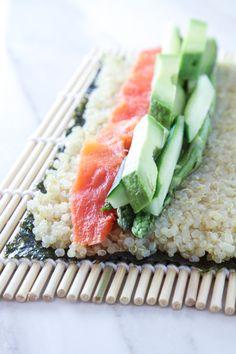 Homemade Quinoa Sushi with Salmon, Asparagus, Avocado & Cucumber