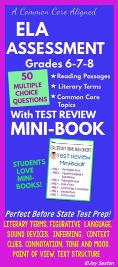 This 50-question Multiple Choice ELA Test comes with a 7-page MINI-BOOK so that students can review and practice Literary Terms and Common Core reading skills. Perfect for your final exam or use as practice when state testing time approaches.
