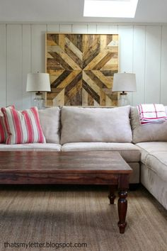 Wood Planked Quilt using pine boards, glue and various stains. Jaime from That's My Letter will show you how she combined her love for wood and her love for sewing into this fun Pottery Barn Knock-off project.