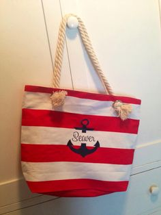 Personalized Striped Canvas Tote Bag by ChestnutandLime on Etsy