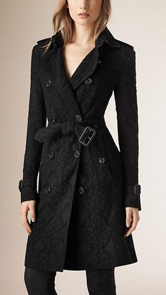 Burberry Black English Lace Trench Coat - A lace trench coat made from cotton gabardine. The fabric is woven at the Burberry mill in Yorkshire, England and crafted from the same yarn as our Heritage Trench Coat. Invented by Thomas Burberry in 1879, cotton gabardine is a tightly woven, weatherproof fabric that protects against the elements.