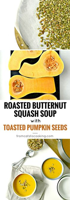 Roasted Butternut Squash Soup with Toasted Pumpkin Seeds Recipe (gluten free, paleo, vegetarian, vegan) This is the perfect healthy fall soup. It's savory and slightly sweet, warm and filling and has a great depth of flavor. Great for the Thanksgiving holiday or even Christmas, this is the perfect side dish or entree for any meal of the day!