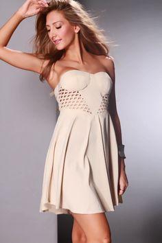 Beige Strapless Lattice Detailing Sweetheart Neckline Sexy Dress