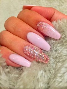Baby pink squoval nails decorated with pink glitter and attached to one hand . - Baby pink squoval nails decorated with pink glitter and attached to one hand – - Pink Acrylic Nails, Gold Nails, Glitter Nails, Fun Nails, Nail Pink, Ombre Nail, Matte Pink, Acrylic Gel, Stiletto Nails