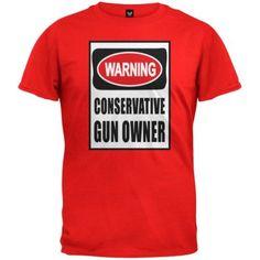 Conservative Gun Owner Sign Red T-Shirt, Men's, Size: Large