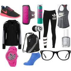 sport by kirimaus on Polyvore featuring Mode, adidas, adidas Originals, NIKE, Muse, Essie and Beats by Dr. Dre