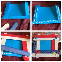 Picture frame with wooden Popsicle sticks, glue, construction paper, string, water color paint or makers , stickers and glitter.  Just add glue to the outside of folded edges and boom! Cute frame.  I used this to talk about the Puerto Rican culture during one of our workshops #amorandheritage