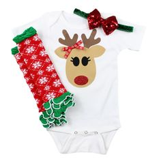 Reindeer Baby Girls Christmas Outfit with Leg by OliveLovesApple