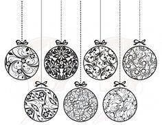 Vintage Christmas Ornaments Decorations Xmas Vintage Baubles Christmas Baubles Decor Digital Clipart Clip Art Graphics Circle Black 10397