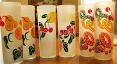 Vintage 50's Federal Tom Collins Ice Tea Glass Tumblers Fruit
