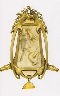 Horseman pendant, by René Lalique, circa 1900-1902. Gold, enamel, ivory and opals. Signed 'LALIQUE' on the upper side of the reverse. Unique piece.
