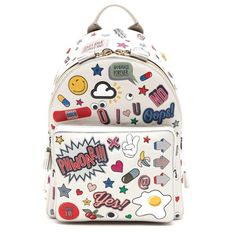 ANYA HINDMARCH All over wink stickers mini backpack (134.665 RUB) ❤ liked on Polyvore featuring bags, backpacks, bolsas, bolsos, mini backpack, backpack bags, mini bag, white bag and knapsack bag