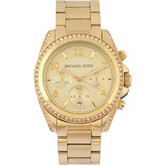 Michael Kors Blair MK5166 watch ($300) ❤ liked on Polyvore featuring jewelry, watches, gold, bracelet jewelry, michael kors watches, analog watches, dial watches and michael kors