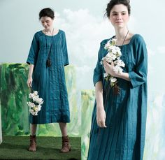 linen tunic dress in diamond blue pleated shirt by camelliatune