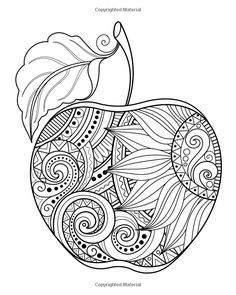 Zentangle Apple 🍎 Coloring Page - Did You Know That There Are Thousands Of Different Varieties Of Apples? Including Fuji, Gala, Red Delicious, Golden Delicious, Pink Lady and Granny Smith. Apple Coloring Pages, Mandala Coloring Pages, Free Coloring Pages, Printable Coloring Pages, Coloring Sheets, Adult Coloring, Coloring Books, Sunflower Coloring Pages, Fall Coloring