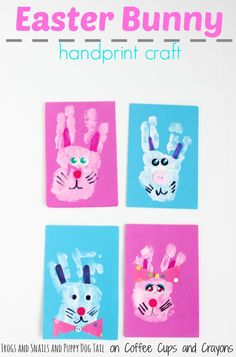 Easter Bunny Handprint Craft for Kids. Adorable Easter craft idea.