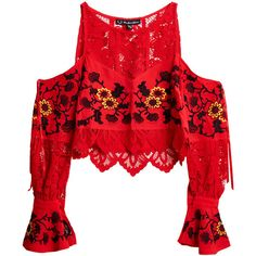 For Love & Lemons Flower Embroidered Top ($365) ❤ liked on Polyvore featuring tops, shirts, sheer tops, long sleeve shirts, red shirt, floral shirts and floral crop top