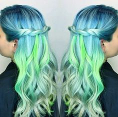 blue green pastel dyed hair color