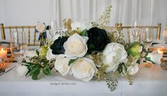 Head Table Centerpiece- Head Table Centerpiece Long and low head table centerpiece with all white peonies, ivory roses, dark navy blue velvet roses and accented with gold berries and gold foliage. This table centerpiece is approx 22 inches long, 12 i Bridal Bouquet Blue, Cascade Bouquet, Bride Bouquets, Ivory Roses, Blue Roses, Wedding Alter Flowers, Sweetheart Table, Table Centerpieces, Rustic Wedding