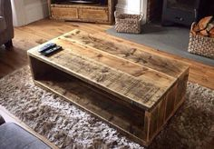 A personal favourite from my Etsy shop https://www.etsy.com/uk/listing/562563417/rustic-planked-chunky-coffe-table-with
