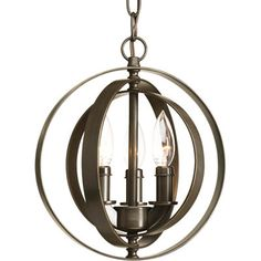Three-light sphere pendant inspired by ancient astronomy armillary spheres. can be used individually or in groupings of two or more.